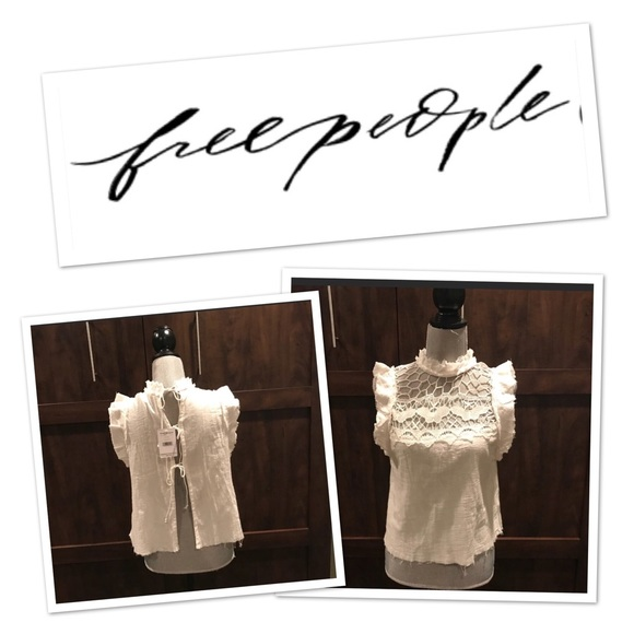 Free People Tops - NWT- Free People butterfly shirt with open back